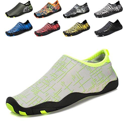 Demetry Unisex Quick-Dry Wasserschuhe Leichte Aqua Socken zum Schwimmen, Wandern, Yoga, Strand, Wasserpark 2-schwarz / grün
