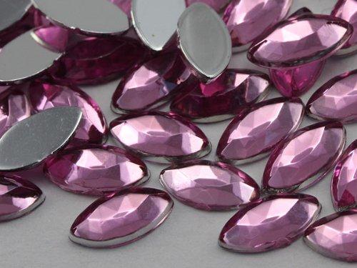 8x4mm Lite Pink H117 Flat Back Navette Acrylic Jewels Hig...