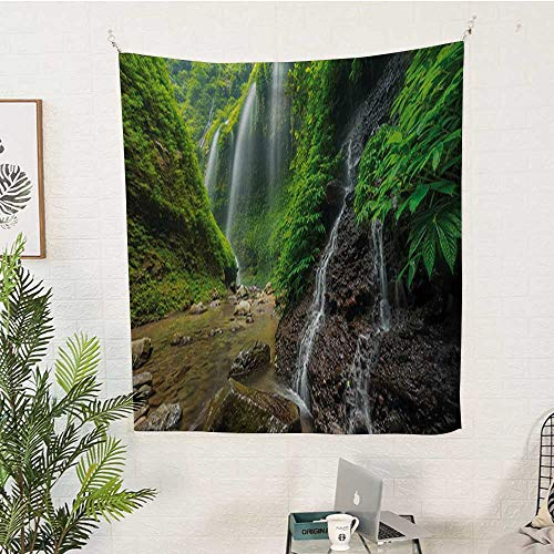 Garnet Asian Rug - sunsunshine Waterfall Vertical Tapestry Waterfalls-Side-Valley-in-Indonesia-with-Southeast-Asian-Bushes-Above-Hills Decorative Tapestry 70W x 84L INCHGreen-and-Brown