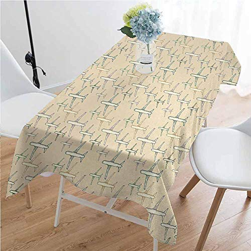 GloriaJohnson Vintage Iron-Free Anti-fouling Holiday Long Tablecloth Retro Scooter Sign for Bike Bicycle Rent Classic Grunge Illustration Artwork Table Decoration W60 x L102 Inch Red Black White (Turquoise Scooter Clamp)