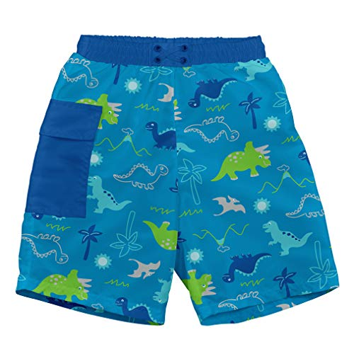 (i play. Baby Boys Pocket Trunks with Built-in Reusable Absorbent Swim Diaper, Aqua Dinosaurs, 24mo)