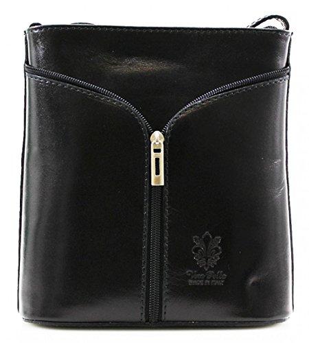 H & G Vera Pelle Mini italiana de cuero real del bolso del Cruz-Cuerpo (gris oscuro) Black