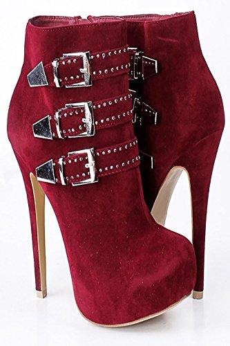 damas botas 39 hebilla stilettos y 38 impermeable metal Europa Club RED mano de gCaW8q
