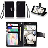 IZENGATE Executive Premium PU Leather Wallet Flip Case Cover Folio Stand for LG Optimus G E970 (AT&T Model Only) (Black)