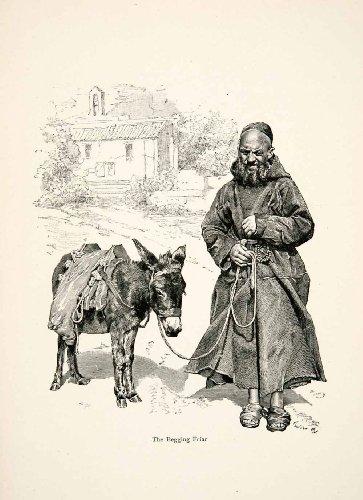 1896 Wood Engraving Gaston Vuillier Friar Donkey Corsica Monk Mule Robes Art - Original Wood (Corsica Wood)