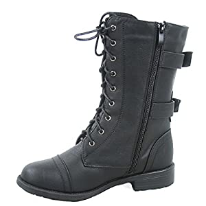 Top Moda Pack-72 Women's Fashion Mid Calf Low Heel Combat Military Zipper Lace Up Shoes (10, Black)