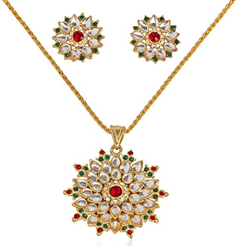 - Touchstone Gold Tone Indian Bollywood Floral Faux Ruby Emerald Kundan Look Jewelry Pendant Set for Women