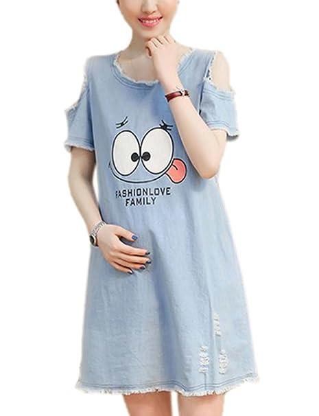 hellomiko Vestido de Mezclilla de Maternidad de Las Mujeres, Vestido de Mezclilla Lindo para Mujer