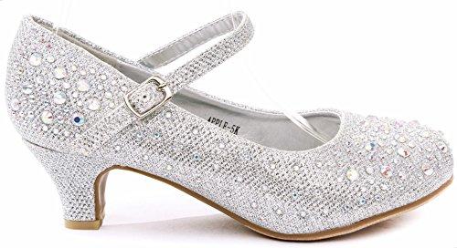 Apple Kids Sliver Sparkling Mary Jane Rhinestone Glitter Formal Dress Low Heel Pumps, Silver, 9 M US Toddler