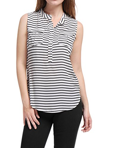 Allegra K Women's Buttoned Half Placket Sleeveless Stripes Shirt White (Buttoned Placket)