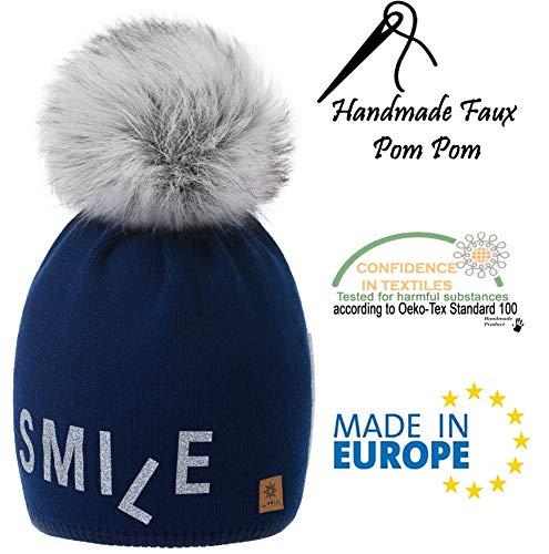 Big 4sold Pom Cap marino Winter Knit Forro Modelo Wool azul Snowboard Bonnet 2 Smile Con Ski Womens Bobble Fleece 1wq0CR1