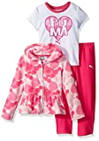 PUMA Toddler Girls' Three Piece Micro Fleece Set, Pink Glow, 2T