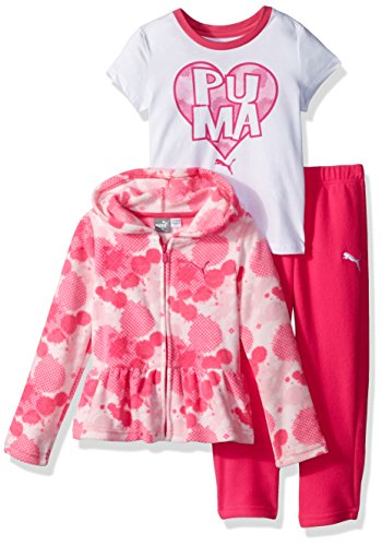 PUMA Toddler Girls' Three Piece Micro Fleece Set, Pink Glow, 4T