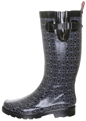 Capelli Folksy Printed New Rubber Boot Floral York Black Combo Ladies Tall Rain qUgrSq
