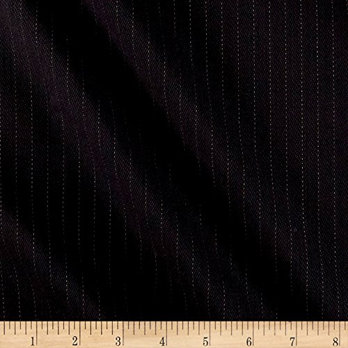 Fabric Mart Pinstripe Super 100 New Twist Suiting Black Fabric by The Yard