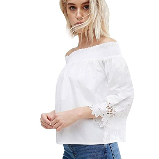 b47f360f6bf Minisoya Women's Off Shoulder Blouse Lace Crochet 3/4 Sleeve Tops Ladies  Casual Shirt (