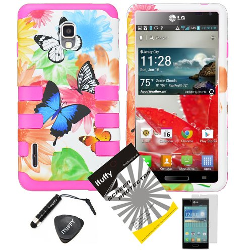 4 items Combo: ITUFFY (TM) LCD Screen Protector Film + Mini Stylus Pen + Case Opener + Blue Buttery Red Pink Green Yellow Sun Flower Design Rubberized Hard Plastic + Soft Rubber TPU Skin Dual Layer Tough Hybrid Case for LG Optimus F7 US780 LG870 Boost Mobile / US Cellular (Lg Optimus F7 Rubber Phone Case)
