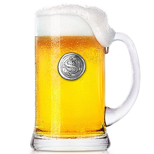 English Pewter Company 1 Pint Monogram Initial Beer Mug Glass Tankard - Personalized Gift With Your Choice Of Initial (S) [MON019]