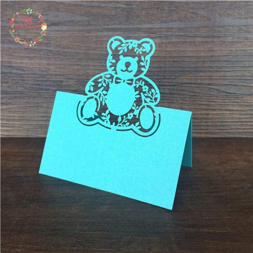 TrustBT Invitations - 40Pcs Bear Laser Cut Baby Shower Birthday Party Table Name Place Cards Wedding Invitations Table Name Card Party Decoration Fold Size 3.54x1.96in -