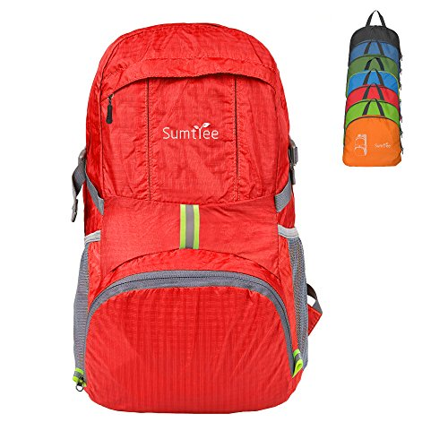 Sumtree 35L Ultra Lightweight Foldable Packable Backpack, Durable Hiking Daypack (Red)
