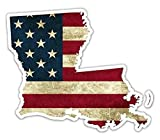3 Pack - Louisiana Shaped US Flag Pro American Vintage US Flag Vinyl Bumper Sticker Decal