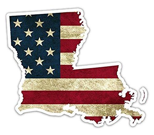 3 Pack - Louisiana Shaped US Flag Pro American Vintage US Flag Vinyl Bumper Sticker Decal