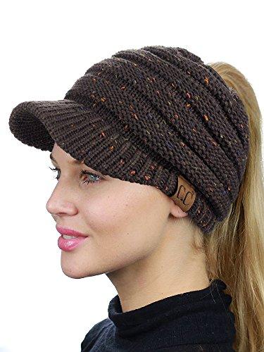 C.C BeanieTail Warm Knit Messy High Bun Ponytail Visor Beanie Cap, Confetti Brown
