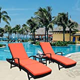 LEAPTIME Patio Lounge Chair 3pcs Outdoor Loungers Black Rattan Adjustable 5 Position PE Wicker Sunbed Furniture with Orange Cushion (3 Piece, Orange)