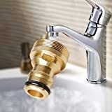 LVOERTUIG 23mm Hose Quick Connector Brass Threaded Garden Water Pipe Connector Tube Fitting Tap Adapter (gold)