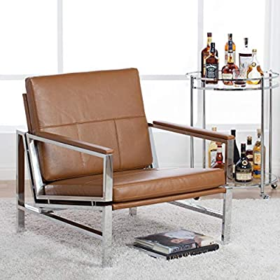 "Studio Designs Home Modern Atlas Accent Chair for Living Room Bedroom, Bonded Leather, Carmel, 72004 - Overall Dimensions: 29.75"" W x 32"" D x 33"" H Seat: 26.25"" W x 23.25"" D x 16.5"" H (floor to seat) Modern Chair: Durable and Attractive Bonded Leather, Sleek Chrome Frame - living-room-furniture, living-room, accent-chairs - 51FyXTIeWYL. SS400  -"