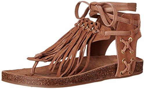 Women's Caramel Kyra Golden Flat Edelman Sandal Sam 5Yw7OW