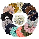 15 Pack Women's Large Chiffon Flower Hair Scrunchies Ondder Hair Bow Chiffon Ponytail Holder, Including 8 Colors Chiffon Flower Hair Scrunchies and 7 Solid Colors Chiffon Hair Scrunchy Ties