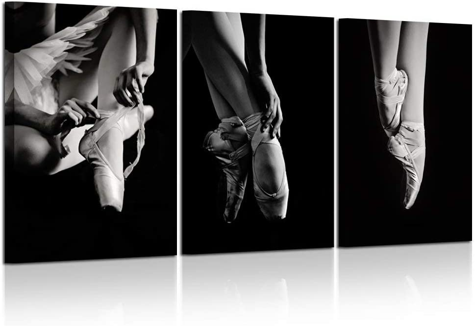 Kreative Arts - 3 Piece Black and White Wall Art Elegant Ballet Shoes Ballerina's Pointes Wooden Frame Modern Canvas Prints Painting for Home Decoration Wall Decor Ready to Hang
