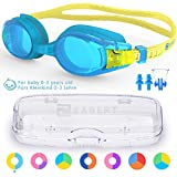ZABERT Kids Swim Goggles for Children Age 0-14 Years Old Leakproof Shatterproof Anti-Fog UV Protection Quick Adjust – Hard Case Nose Clip Ear Plugs – for Fun Triathlon Indoor Open Water