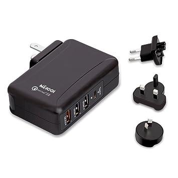Adaptador Enchufe ,Universal Cargador Enchufe de Viaje Cargador con USB C y Tres Puertos USB para Más Dispositivos Electrónico Adaptador ...