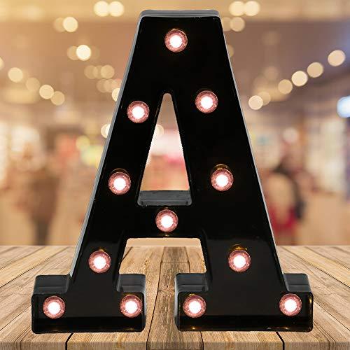 - Light up Letters LED Letter Light up Black Alphabet Letter Night Lights for Home Bar Festival Birthday Party Wedding Decorative (Black Letter A)