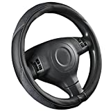 NEW ARRIVAL-CAR PASS Luxurious Leather and Velour Universal Steering Wheel Cover fit for trucks,Suvs,Vans,Sedans(Black And Gray)