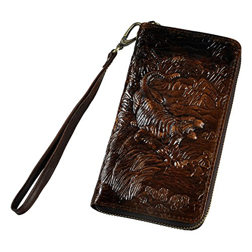 Le'aokuu Mens enuine Leather Clutch Hand Bag Organizer Checkbook Zipper Wallet (coffee-tiger) Tigers Leather Money Clip