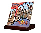 Greetings El Paso TX Old Travel Poster Ceramic Tile & Stand 4''x4''