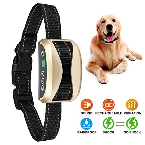 Bark Collar (2018 Upgrade Version) Anti Barking Device,with Beep Vibration and Harmless Shock Modes,Rechargeable Waterproof No Bark Collar for Small/Medium/large Dogs Safe Stop Barking