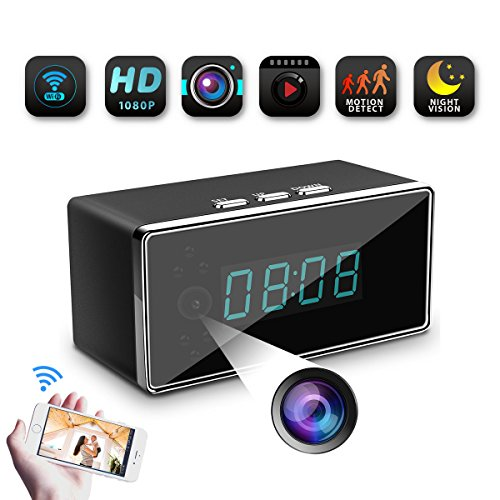 WiFi Spy Hidden Camera-SILLEYE 1080P Clock Hidden Camera Mini Nanny Cam with Motion Detection,Night Vision,3000mAh Battery,Indoor Use