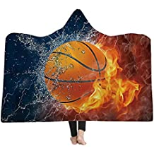 "AMTAN Hooded Blanket 3D Basketball Baseball Softball Soccer Warm Wearable Blankets Kids and Adults Lie Fallow Blanket Super Soft Sherpa Fleece Blankets (Adults 59""x 79"" inch)"