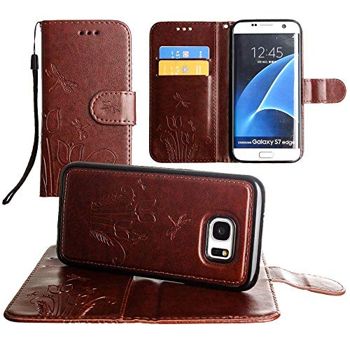 Galaxy S7 Edge Wallet Case, Slim PU Leather Embossed Design with Matching Detachable Cover with Credit Card Holder Wristlet for Women [Dragonfly - Brown]