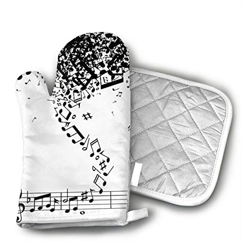 TRENDCAT Black Music Notes Storm Oven Mitts and Potholders (2-Piece Sets) - Extra Long Professional Heat Resistant Pot Holder & Baking Gloves - Food Safe ()