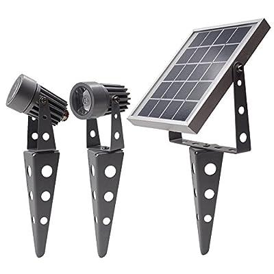 MINI 50X Twin Solar-Powered LED Spotlight (Cool White LED), Gunmetal Finish