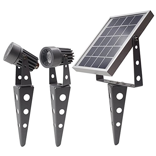 Gunmetal Finish, Mini 50X Twin Solar-Powered LED Spotlight (Cool White LED)
