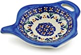 Polmedia Polish Pottery Polish Pottery 4¼-inch Tea Bag or Lemon Plate (Blue Cress Theme) Signature UNIKAT + Certificate of Authenticity