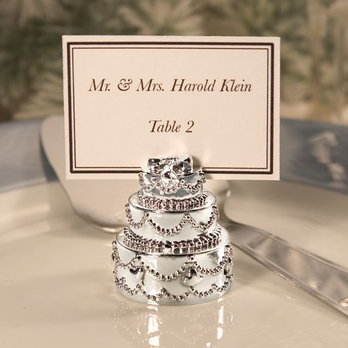Silver Wedding Cake Placecard Holder Favors, 70 by FASHIONCRAFT