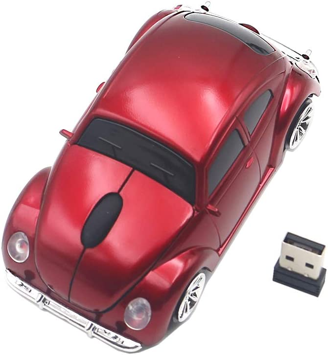 Ai5G for VW Beetle Car Mouse Wireless Mouse Laptop Desktop Computer Mice with 2.4GHz USB Receiver LED Headlight (Red)