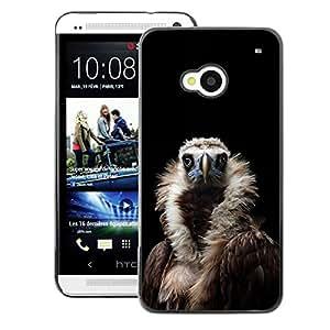 A-type Arte & diseño plástico duro Fundas Cover Cubre Hard Case Cover para HTC One M7 (Condor Bird Black Vulture Nature Feather)
